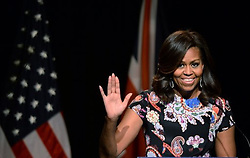US first lady Michelle Obama visits the Mulberry School for Girls in Tower Hamlets, east London.