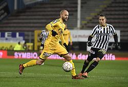 February 11, 2018 - France - Robin Soder forward of Sporting Lokeren and Gaetan Hendrickx midfielder of Sporting Charleroi (Credit Image: © Panoramic via ZUMA Press)
