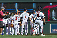 The Minnesota Twins celebrate after defeating the Seattle Mariners on June 2, 2013 at Target Field in Minneapolis, Minnesota.  The Twins defeated the Mariners 10 to 0.  Photo: Ben Krause