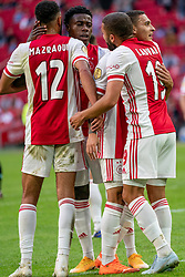 Noussair Mazraoui of Ajax, Quincy Promes of Ajax , Zakaria Labyad of Ajax in action during eredivisie round 02 between Ajax and RKC at Johan Cruyff Arena on September 20, 2020 in Amsterdam, Netherlands