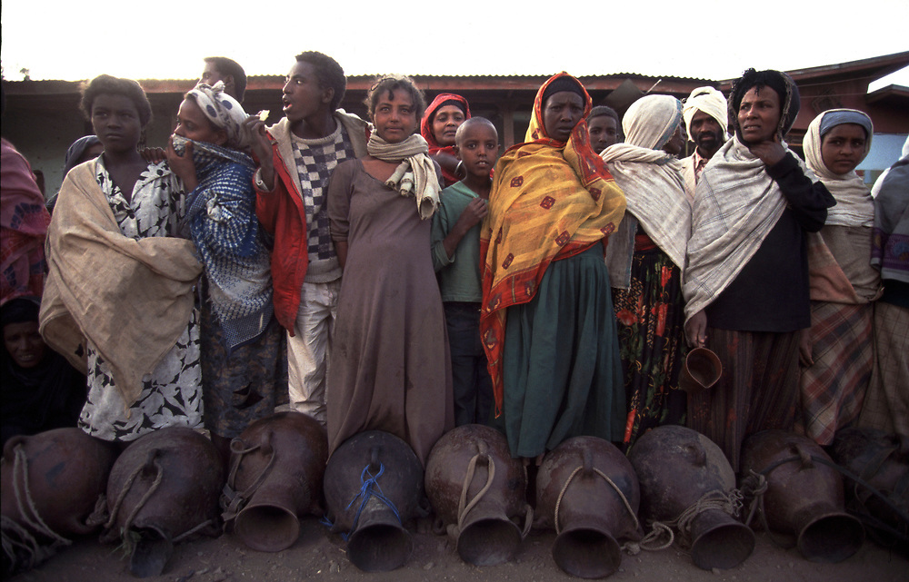 ethiopia<br /> <br /> Queing for water at well in Ethiopia<br /> <br /> Pic Steve Morgan