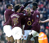 Photo: Olly Greenwood.<br />Arsenal v Charlton Athletic. The Barclays Premiership. 18/03/2006. <br />Arsenal's Emmanuel Adebayor (R) celebrates scoring.