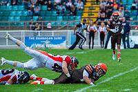 KELOWNA, CANADA - SEPTEMBER 16: Linebacker Matthew Cox #46 of the Vancouver Island Raiders tackles quarterback Jakob Loucks #2 of the Okanagan Sun on September 16, 2018, at the Apple Bowl, in Kelowna, British Columbia, Canada.  (Photo by Marissa Baecker/Shoot the Breeze)  *** Local Caption ***