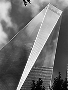Black and white low angle photo of the Freedom Tower, or One World Trade Center in New York City