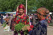 Tashkent, Uzbekistan, 12/05/2004..Women selling herbs at Chorsu [Chor Su] market, in central Tashkent.