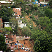 South America, Brazil. Rio de Janiero. Landslide in favela of Rocinho.
