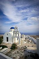 A Greek Orthodox church, bells, skyline, Santorini, Greece