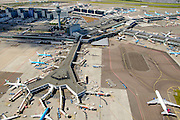 Nederland, Noord-Holland, Haarlemmermeer, 01-08-2016; Schiphol Amsterdam Airport, drukte wegens vakantie en extra controles door de Marechausse in verband met terrorisme-dreiging<br /> Holiday traffic and traffic jams due to out additional patrols at Schiphol Airport carried out by military police carry out  following a terrorist threat.<br /> <br /> luchtfoto (toeslag op standard tarieven);<br /> aerial photo (additional fee required);<br /> copyright foto/photo Siebe Swart