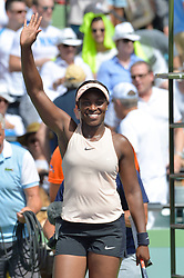 March 29, 2018 - Key Biscayne, FL, U.S. - KEY BISCAYNE, FL - MARCH 29: Sloane Stephens (USA) celebrates during day 11 of the 2018 Miami Open at Crandon Park Tennis Center on March 29, 2018, in Key Biscayne, FL. (Photo by Andrew Patron/Icon Sportswire) (Credit Image: © Andrew Patron/Icon SMI via ZUMA Press)
