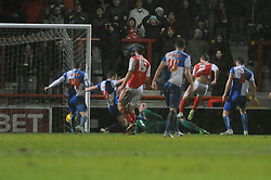 Morecambe's Jack Redshaw scores a goal. - Photo mandatory by-line: Dougie Allward/JMP - Tel: Mobile: 07966 386802 14/12/2013 - SPORT - Football - Morecombe - Globe Arena - Morecombe v Bristol Rovers - Sky Bet League Two
