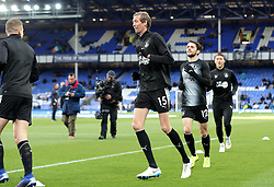 Burnley's Peter Crouch warming up at Goodison Park before the game