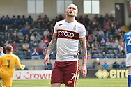Bradford City midfielder Nicky Law (7)  misses  during the EFL Sky Bet League 1 match between Rochdale and Bradford City at Spotland, Rochdale, England on 21 April 2018. Picture by Mark Pollitt.