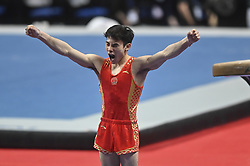 March 2, 2019 - Greensboro, North Carolina, US - YUE MA from China celebrates sticking his vault at the Greensboro Coliseum in Greensboro, North Carolina. (Credit Image: © Amy Sanderson/ZUMA Wire)