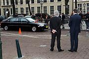 Prins Willem-Alexander bij de 70e herdenking bij van de slag in de Javazee in de Kloosterkerk , Den Haag.<br /> <br /> Prince Willem-Alexander at the 70th commemoration of the battle in the Java Sea in the Monastery Church, The Hague.<br /> <br /> Op de foto/ On the photo:  Aankomst van Prins Willem Alexander / Arrival of Prince Willem Alexander