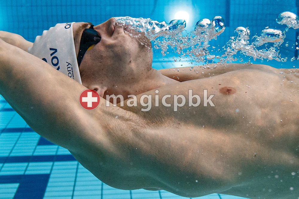 Roman MITYUKOV of Switzerland is cooling down after clocking in a new Swiss Record time in the men's 100m Backstroke Heats during the Swiss Swimming Championships (50m) in Uster, Switzerland, Friday, April 9, 2021. (Photo by Patrick B. Kraemer / MAGICPBK)