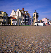 Historic look-out tower seafront buildings and shingle beach, Aldeburgh, Suffolk, England
