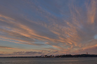 Sunrise Panorama over the Tagus River in Lisbon. Six of eight images taken with a Leica CL camera and 23 mm f/2 lens (ISO 200, 23 mm, f/8, 1/60 sec). Raw images processed with Capture One Pro and AutoPano Giga.
