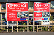 Offices for sale and rent sign, Riduna Park, Melton, Suffolk, England, UK