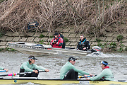 Hammersmith, GREATER LONDON. United Kingdom Cambridge University  Boat  Club, Pre Boat Race Fixture CUBC vs ITA M8+ for the 2017 Boat Race The Championship Course, Putney to Mortlake on the River Thames. CUBC Coaching Launch right Steve TRAPMORE.<br /> <br /> Saturday  18/03/2017<br /> <br /> [Mandatory Credit; Peter SPURRIER/Intersport Images]<br /> CUBC