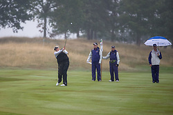 Great Britain's Dame Laura Davies plays her approach shot into the 15th hole during her Semi Final match with Sweden this morning during day eleven of the 2018 European Championships at Gleneagles PGA Centenary Course.