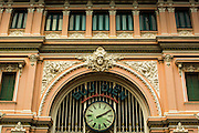 28 MARCH 2012 - HO CHI MINH CITY, VIETNAM:  Exterior of the main post office in Ho Chi Minh City, Vietnam. The main Post Office is a landmark and popular with tourists who visit Vietnam.    PHOTO BY JACK KURTZ
