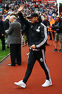 West Bromwich Albion Manager Tony Pulis waves to the Stoke fans prior to kick off. Barclays Premier League match, Stoke city v West Bromwich Albion at the Britannia stadium in Stoke on Trent, Staffs on Saturday 29th August 2015.<br /> pic by Chris Stading, Andrew Orchard sports photography.