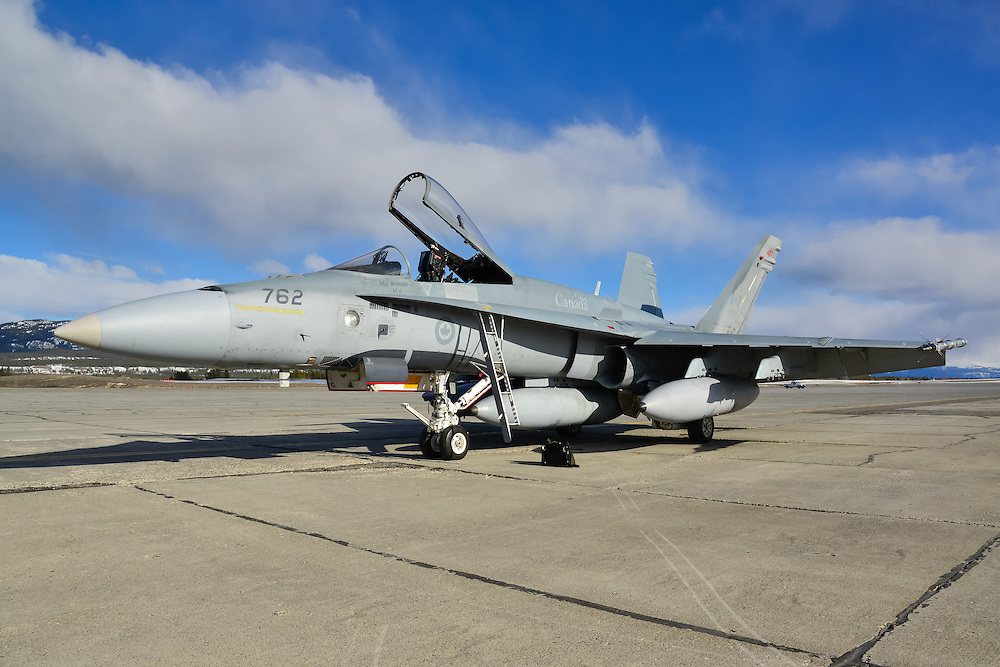RCAF McDonnell-Douglas CF-18 Hornet on the Whitehorse International Airport ramp