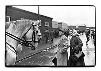 A couple talks to 2 policemen near White Hart Lane, London, 1982. South-East London, 1982