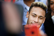 Paris Saint Germain's Brazilian forward Neymar Jr poses with Bordeaux's forward Malcom after the French Championship Ligue 1 football match between Paris Saint-Germain and Girondins de Bordeaux on September 30, 2017 at the Parc des Princes stadium in Paris, France - Photo Benjamin Cremel / ProSportsImages / DPPI
