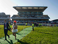 Grand National Meeting - Ladies' Day<br /> e.g. of caption:<br /> National Hunt Horse Racing - 2017 Randox Grand National Festival - Friday, Day Two [Ladies' Day]<br /> <br />   <br /> Racegoers leave the course after the 7th race Weatherbys Private Bank Standard Open NH Flat Race (Grade 2) (Class 1)2m 209y, Good<br /> 19 Runners.at Aintree Racecourse.<br /> <br /> COLORSPORT/WINSTON BYNORTH