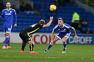Steve Sidwell of Brighton (l) is challenged by Joe Ralls of Cardiff city. EFL Skybet championship match, Cardiff city v Brighton & Hove Albion at the Cardiff city stadium in Cardiff, South Wales on Saturday 3rd December 2016.<br /> pic by Andrew Orchard, Andrew Orchard sports photography.