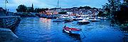 Art panorama of evening at the harbor in Mundaka, Spain