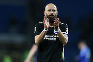 Bruno Saltor of Brighton & Hove Albion applauds the Brighton fans at the end of the match. EFL Skybet championship match, Cardiff city v Brighton & Hove Albion at the Cardiff city stadium in Cardiff, South Wales on Saturday 3rd December 2016.<br /> pic by Andrew Orchard, Andrew Orchard sports photography.