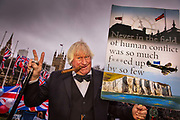 Pro Brexit Leave supporter and Boris Johnson lookalike in Westminster on Brexit Day as the UK prepares to leave the European Union on 31st January 2020 in London, England, United Kingdom. At 11pm on Friday 31st January 2020, The UK and N. Ireland will officially leave the EU and go into a state of negotiations as to the future arrangement and trade agreement, while adhering to EU rules until the end of 2020.