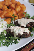 fried Minced Meatballs with Tahini and potatoes