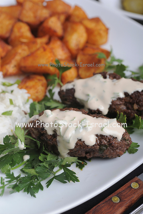 fried Minced Meatballs with Tahini and potatoes