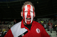an Accrington Stanley fan looks on. . EFL Cup, 3rd round match, West Ham Utd v Accrington Stanley at the London Stadium, Queen Elizabeth Olympic Park in London on Wednesday 21st September 2016.<br /> pic by John Patrick Fletcher, Andrew Orchard sports photography.