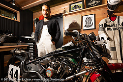 Masahiro Mack Okinawa with a 1948 Harley-Davidson Knucklehead in the Zero Engineering booth the 27th Annual Mooneyes Yokohama Hot Rod Custom Show on show day. This is also the bike he races for Zero and is the fastest Knucklehead in Japan. Yokohama, Japan. Sunday, December 2, 2018. Photography ©2018 Michael Lichter.