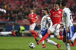 December 5, 2017 - Lisbon, Portugal - Basel's midfielder Renato Steffen from Suisse (L) fights for the ball with Benfica's Greek midfielder Andreas Samaris during the UEFA Champions League Group A football match between SL Benfica and FC Basel at the Luz stadium in Lisbon, Portugal on December 5, 2017. (Credit Image: © Pedro Fiuza/NurPhoto via ZUMA Press)
