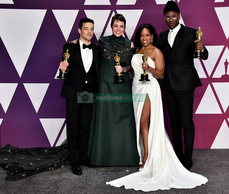 Rami Malek, Olivia Colman, Mahershala Ali and Regina King in the press room at the 91st Academy Awards held at the Dolby Theatre in Hollywood, Los Angeles, USA.