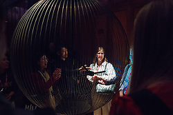 London, UK. 13 September, 2019. Sony Design's Affinity in Autonomy at the Victoria & Albert museum for the London Design Festival portrays the independence and free will of robotics through the random movements of an interactive robotic pendulum. It detects human presence and reflects its recognition in kinetic motion, engaging visitors seeking an emotional and physical response.
