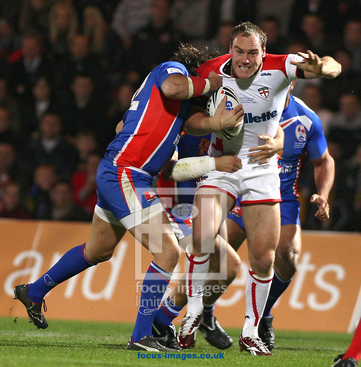 Doncaster-Friday 23rd October 2009:Gareth Ellis of England takes on the French defence during the Gillette Four Nations Rugby League International match between England & France at The Keepmoat Stadium Doncaster. (Pic by Steven Price/Focus Images)