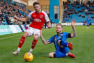 Fleetwood Town forward Wes Burns (7) and Gillingham FC defender Connor Ogilvie (34) during the EFL Sky Bet League 1 match between Gillingham and Fleetwood Town at the MEMS Priestfield Stadium, Gillingham, England on 3 November 2018.<br /> Photo Martin Cole