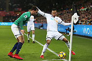 Martin Olsson of Swansea city shields the ball from Hal Robson-Kanu of West Bromwich Albion. Premier league match, Swansea city v West Bromwich Albion at the Liberty Stadium in Swansea, South Wales on Saturday 9th December 2017.<br /> pic by  Andrew Orchard, Andrew Orchard sports photography.