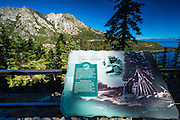 Native American Washoe interpretive sign, Emerald Bay State Park, Lake Tahoe, California USA