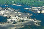 An aerial of the Okavango Delta during the 2019 drought, Okavango Delta,Moremi,  Botswana