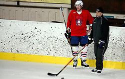 Andrej Tavzelj and coach Matjaz Kopitar at  hockey training of Slovenian national team, on December 12, 2007 in Bled - Ice Arena, Slovenia. (Photo by Vid Ponikvar / Sportal Images)