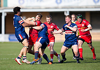 Rugby Union - 2020 / 2021 IPA Greene King Championship - Doncaster Knights vs Saracens - Castle Park, Doncaster.<br /> <br /> Alex Lewington of Saracens is tackled by Josh Pieterse of Doncaster Knights <br /> <br /> Credit : COLORSPORT/BRUCE WHITE