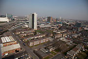 Scenes looking from the 19th floor of a tower block in Carpenters Estate near to the 2012 London Olympic site in Stratford, East London, UK. Residents in this area (of which there seem to be very few, especially in the tower blocks) are concerned for many reasons. Not least of which the possible threat that the entire estate site may be sold off to UCL (University College London). People in this area generally feel very negative towards the Olympics, which they feel is not going to benefit them at all.
