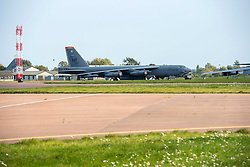 © Licensed to London News Pictures; 20/09/2020; Fairford, Gloucestershire, UK. United States Air Force B-52 strategic bombers are currently based at RAF Fairford to conduct training missions with allied air forces in Europe and Africa. The B-52 has been operated by the United States Air Force since the 1950s. Photo credit: Simon Chapman/LNP.